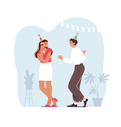 young couple man and woman holding glasses vector image