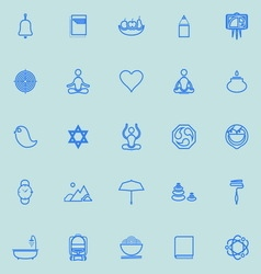 Zen society line icons light blue color vector image