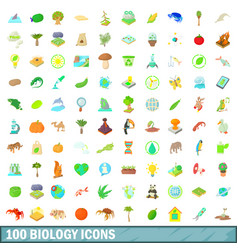 100 biology icons set cartoon style vector image