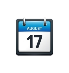 August 17 Calendar icon flat vector image vector image