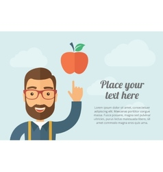Man pointing the red apple icon vector image