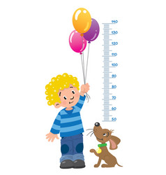 meter wall or height chart with boy and puppy vector image