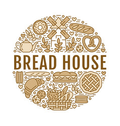 Bakery bread house poster template food vector
