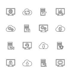 design set with hosting server database vector image vector image