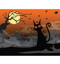 halloween cat background vector image vector image
