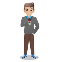 male journalist holding mic vector image