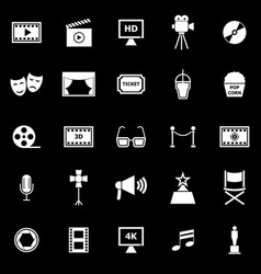 movie icons on black background vector image vector image