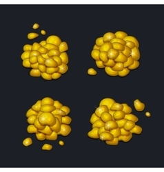 Pile of Gold Pieces Set on Dark Background vector image vector image