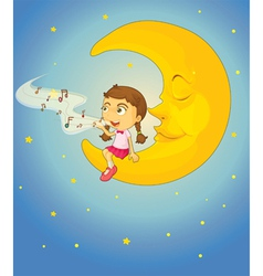 Sleepy Girl Moon vector image