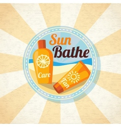 Sun care creams on the beach vector image vector image