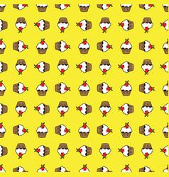 yellow background cupcake seamless pattern vector image