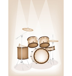 A Beautiful Drum Kit on Brown Stage Background vector image vector image
