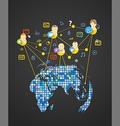 Abstract scheme of modern social network vector image