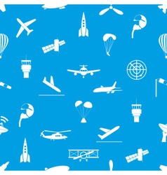 Aviation icons blue and white seamless pattern vector