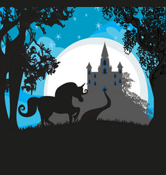 castle and unicorn vector image