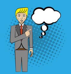 comic man pop art business speech vector image