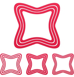 Crimson line square logo design set vector