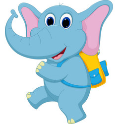 cute elephant going to school vector image