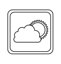 emblem cloud with sun icon vector image vector image
