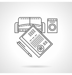 List of rent objects flat line icon vector image vector image