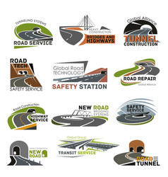 road and highway construction icon set vector image vector image