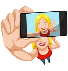Woman taking picture with mobile phone vector image vector image