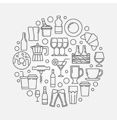 Cafe and bar circular vector image