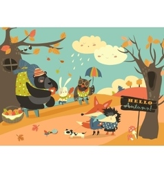 Cute animals walking in autumn forest vector image