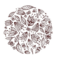Flowers Ornament Circle Background vector image vector image