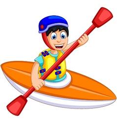 funny boy cartoon play rafting vector image vector image