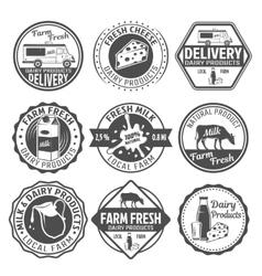 Milk Black White Emblems vector image vector image