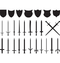 Swords and shields vector image vector image