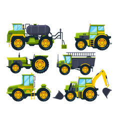 Agricultural machinery colored pictures vector