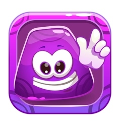 App icon with funny cute purple jelly character vector