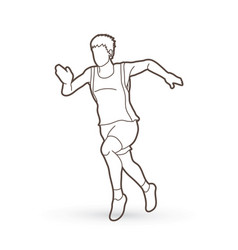Athlete runner a man runner running outline vector