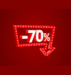 banner 70 off with share discount percentage neon vector image