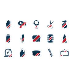 barber shop accessories tools cosmetics icons set vector image