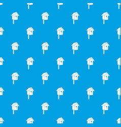 birdhouse pattern seamless blue vector image