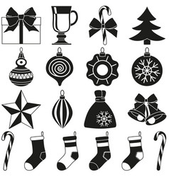 black and white 18 xmas elements silhouette set vector image