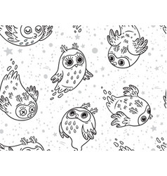 black and white seamless pattern of cute vector image