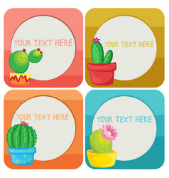 Border template with cactus plants vector