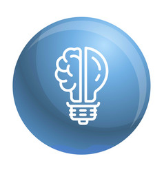 brain bulb icon outline style vector image