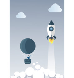business man on air balloon follow flying space vector image