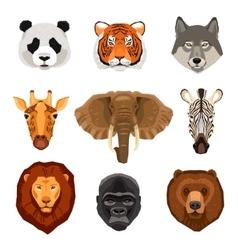 Cartoon Animals Portraits Set vector