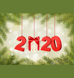 christmas holiday background with a 2020 vector image