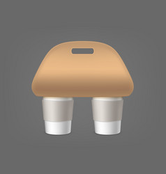 coffee cups holder empty packaging for carrying vector image
