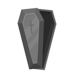 Coffin icon in monochrome style isolated on white vector image