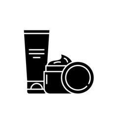 cosmetic creams black icon sign on vector image