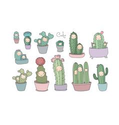 cute cartoon cactus and succulents in pots vector image