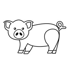 cute pig icon outline style vector image